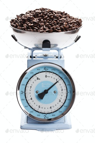 kitchen scale with coffee beans