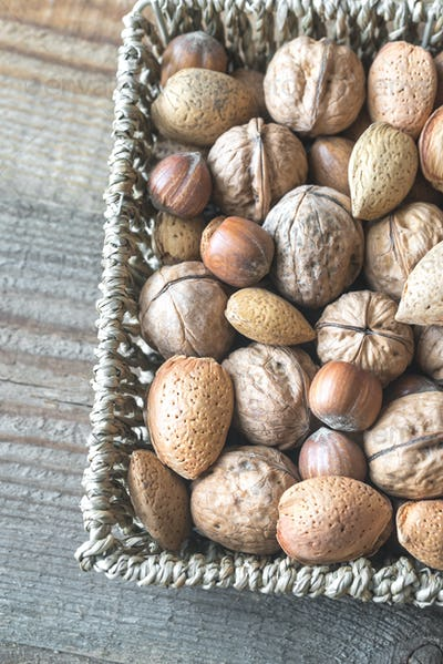 Assortment of nuts in the basket