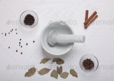 different spices near spice mortar