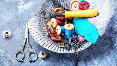 Vintage scissors and thread
