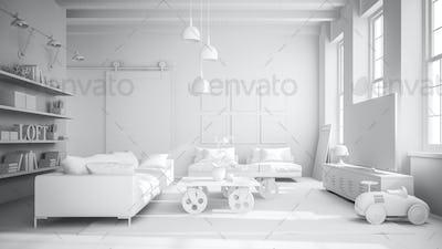 White Interior modern design room 3D illustration