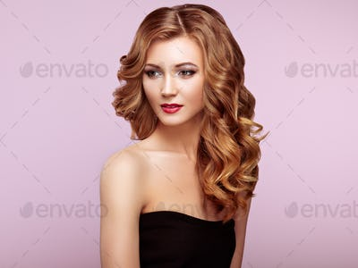 Blonde woman with long shiny wavy hair