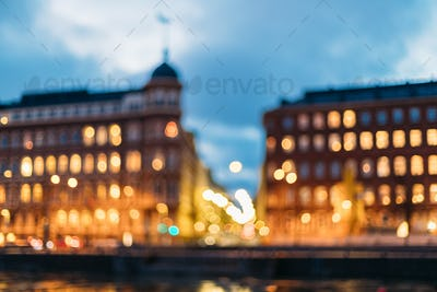 Helsinki, Finland. Abstract Blurred Bokeh Boke Background Of Cro