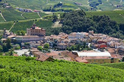 Barolo medieval town in Piedmont on Langhe hills, Italy