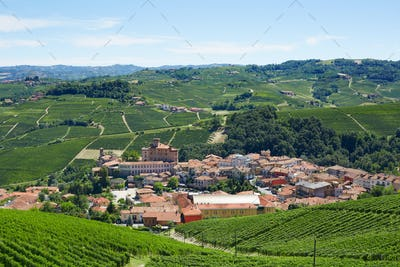 Barolo medieval town in Italy in a sunny day
