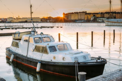 Helsinki, Finland. Marine Boat, Powerboat Moored At Berth In Sun