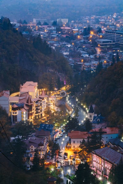 Borjomi, Samtskhe-Javakheti, Georgia. Aerial View Borjomi Citysc