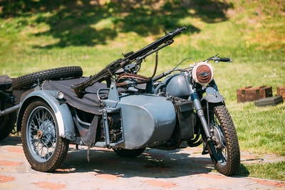 Rarity Blue Tricar Of Wehrmacht. Three-Wheeled Motorbike With Ma