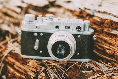Old Vintage Small-Format Rangefinder Camera, 1950-1960s.