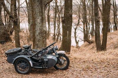 Old Tricar, Three-Wheeled Motorbike With Machine Gun On Sidecar