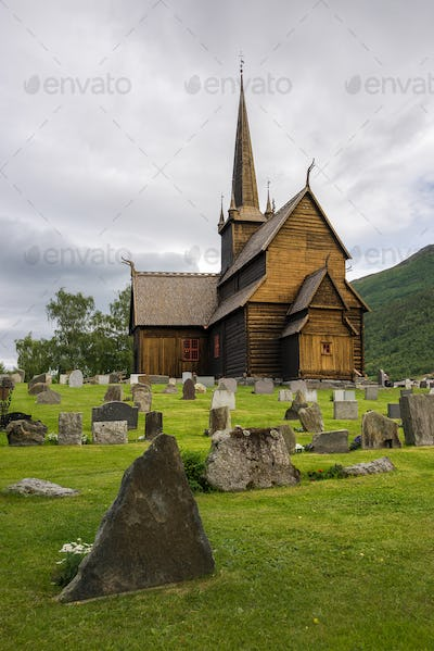 Stave church with graveyard in Norway