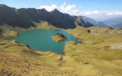 sunny day on alpine lake