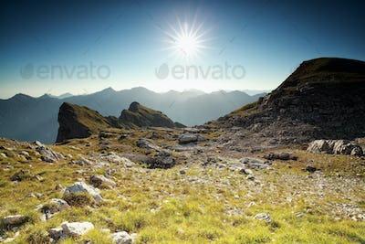 sunshine over alpine meadow