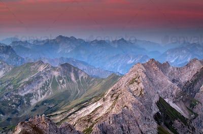mountain ridge before sunrise