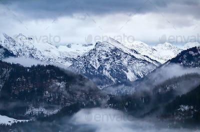 fog in winter Alps