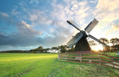 charming Dutch windmill  ats sunrise