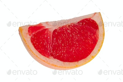 A quarter of the grapefruit on a white background
