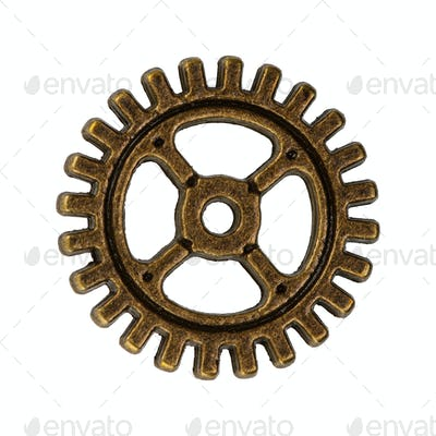 Copper gear on a transparent background