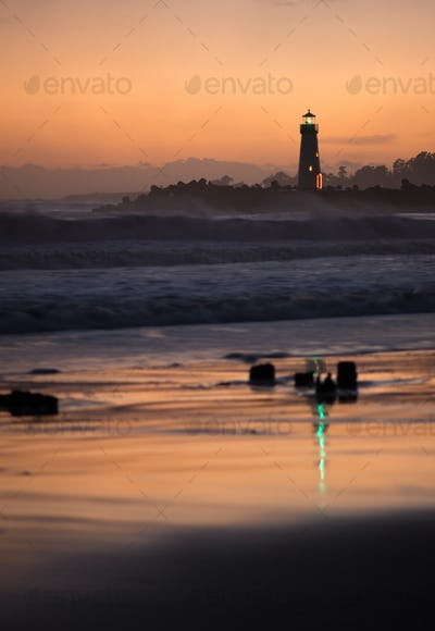 Orange Sunset California Coast Pacific Ocean Beach Lighthouses