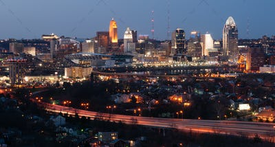 Highway Over Ohio River Cincinnati Downtown City Skyline