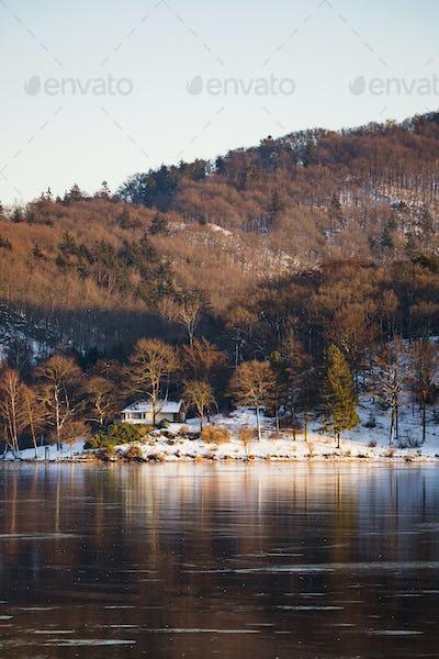 Icy Lake Rursee At Rurberg, Germany