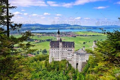 Neuschwanstein Castle the famous castle in Germany located in Fu