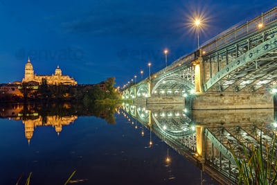 The Cathedral of Salamanca and the river Tormes
