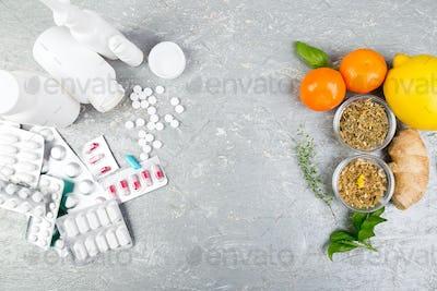 Natural medicine vs conventional medicine concept.