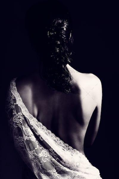 Gentle woman wearing lace dress