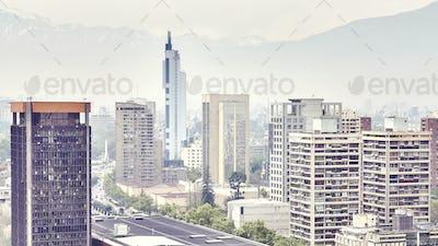 Color toned picture of Santiago de Chile downtown.