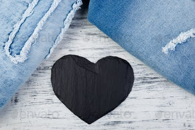 Denim. Jeans texture background. Valentine Day.