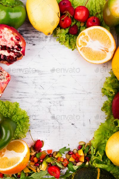 Fruits and vegetables frame. Copy space. Vegan. Clear food.