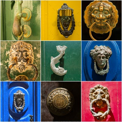 Photo collage of iron door knockers of Malta