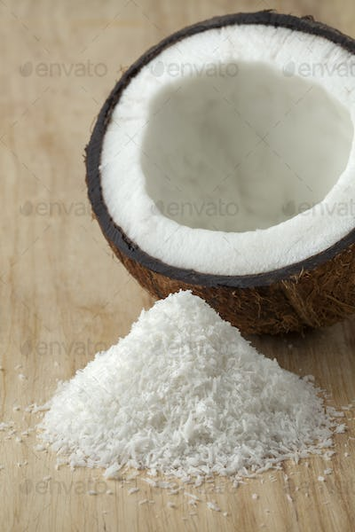Coconuts with white shredded coconut meat