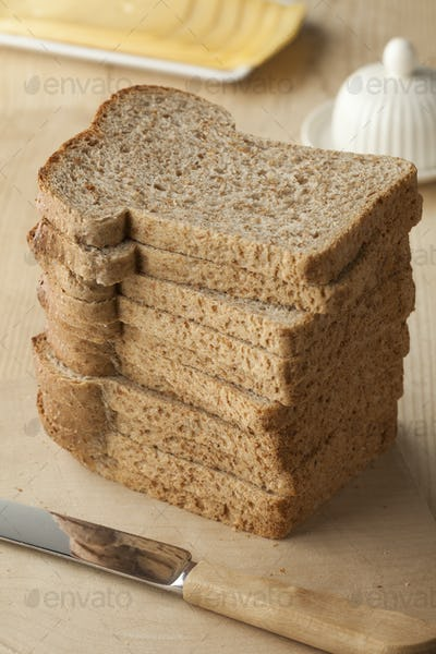 Pile of slices brown bread