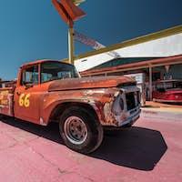 Old car near historic route 66 in California