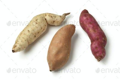 Purple, white and orange sweet potatoes