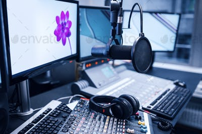 Microphone, Music Mixers And Headphones By Monitors In Radio Stu