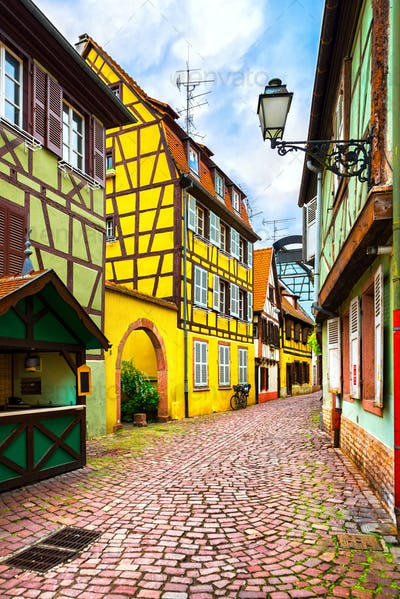 Colmar, Petit Venice, street and traditional houses. Alsace, Fra