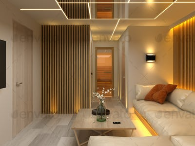 Interior modern design room 3D illustration