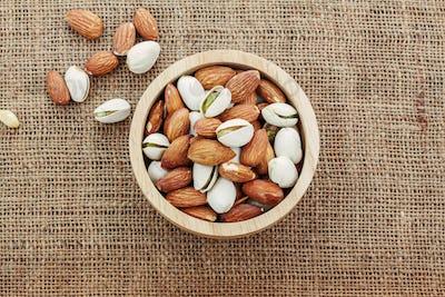 Almonds on sackcloth