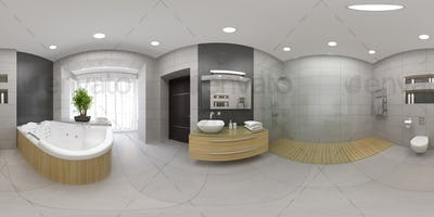 Spherical 360 panorama projection Interior of the modern bathroom 3D rendering