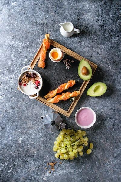 Breakfast set with salmon and yogurt
