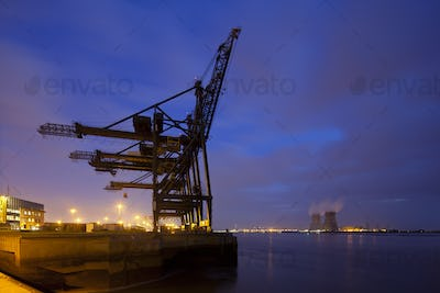 Container Harbor And Power Station At Night