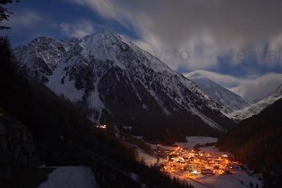 Illuminated Mountain Village, Austria