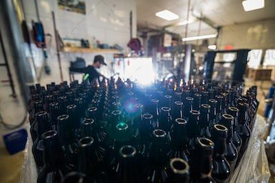 Glass bottles stacked for filling