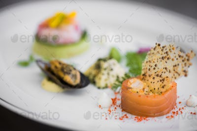 Tasty dish with seafood
