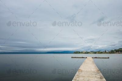 Small wooden pier at lake