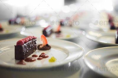 Desserts prepared to serve