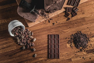 Sweet Table Top View arrangement of Cocoa beans, nibs and Chocol